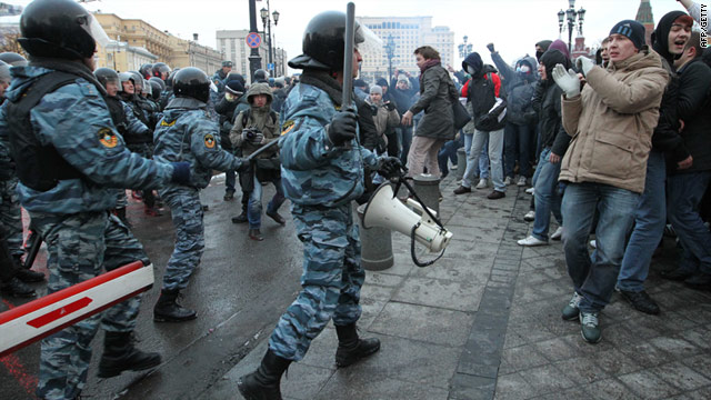 "Russian riot police clashed with 5,000 nationalist and ""football hooligans"" in Moscow on December 11, 2010."