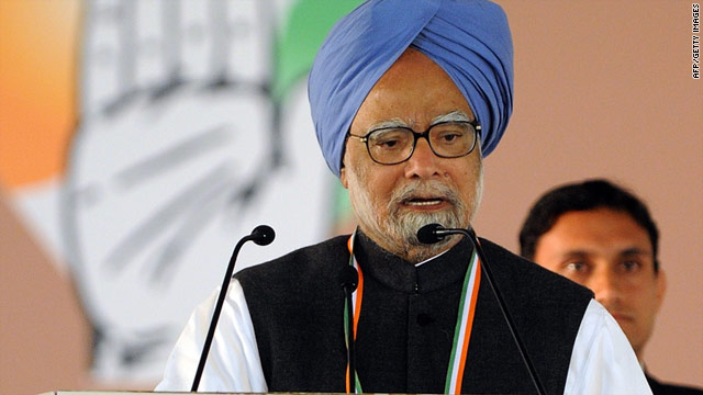 Prime Minister Manmohan Singh speaks Monday during the 83rd plenary session of the Indian National Congres in New Delhi.