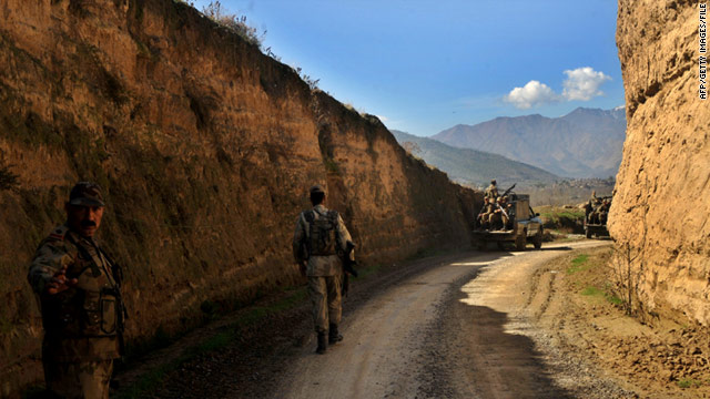 Pakistani soldiers patrol the country's tribal region in March.