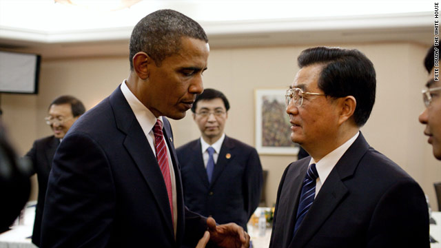 U.S. President Barack Obama talks with Chinese President Hu Jintao at the G20 Summit in Toronto, Canada, in June.