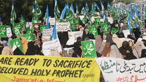 Pakistani women of the fundamentalist Jamaat-i-Islami party march against Asia Bibi on December 9.