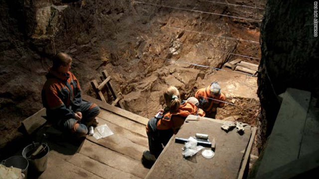 Excavation works inside the Denisova cave, where archaeologists found part of a finger bone in 2008.