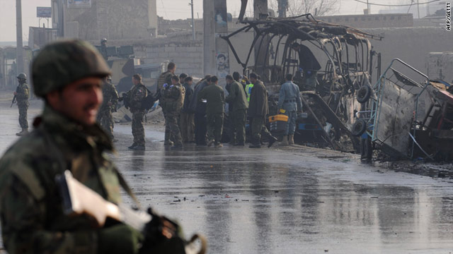 An attack by suicide bombers on an Afghan army bus in Kabul in December -- a U.N. report says violence is up in Afghanistan.