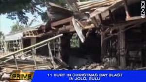 Damage at a church in Jolo in the Philippines after an IED detonated during Christmas Day Mass.