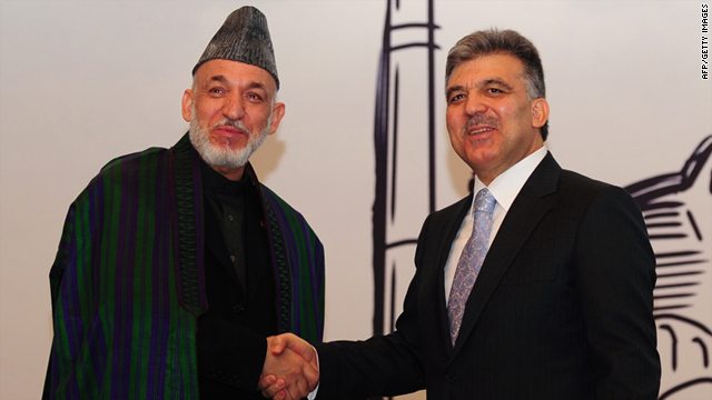 Afghan President Hamid Karzai, right, made the statements during a press conference with Turkish President Abdullah Gul.