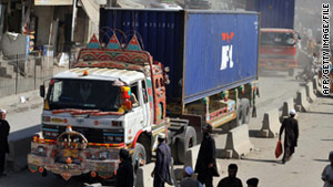 In this file photo from October, NATO supply trucks in Pakistan prepare to enter Afghanistan.