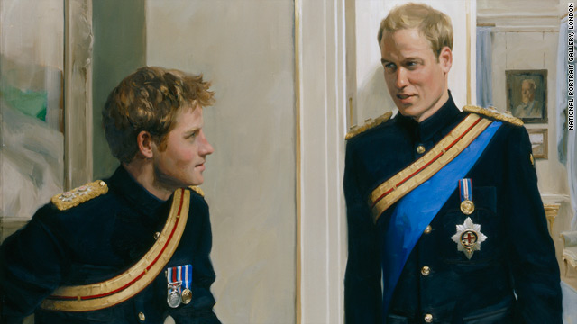 Artist Nicky Philipps captured an informal moment between Britain's Princes William and Harry which is on display at London's National Portrait Gallery.