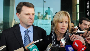 Gerry (left) and Kate McCann leave the Tribunal Civil de Lisboa in Lisbon in December.