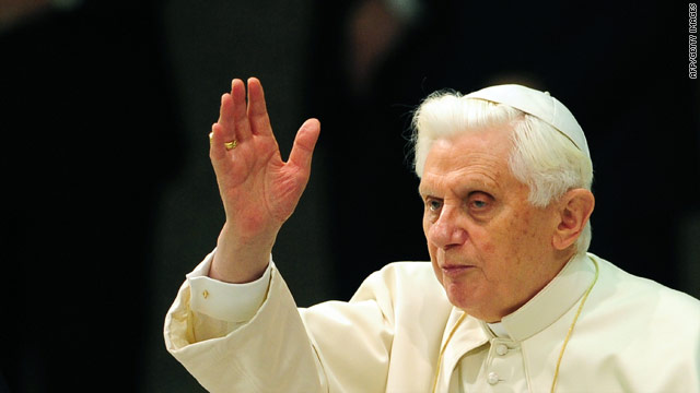 Pope Benedict XVI at his weekly general audience Wednesday.
