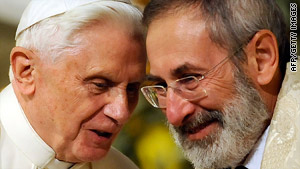 Pope Benedict XVI talks with chief Rabbi Riccardo Di Segni on Sunday in Rome's main synagogue.