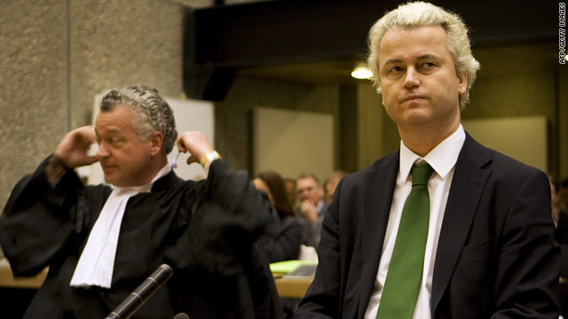 Geert Wilders appears in court in Amsterdam.