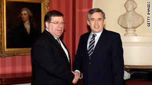 Irish Prime Minister Brian Cowen, left, met Gordon Brown in London on Monday.