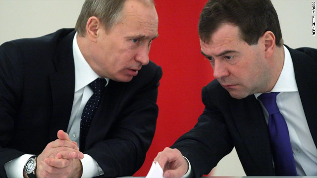 Russian Prime Minister Vladimir Putin and President Dmitry Medvedev during a State Council session on January 22, 2010.