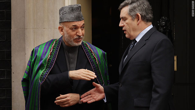 Afghan President Hamid Karzai meets British Prime Minister Gordon Brown Thursday ahead of the London meeting.