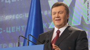 Viktor Yanukovich, Ukraine's former prime minister, leads the presidential runoff, according to exit polls.