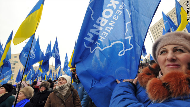 Supporters of Presidential candidate Viktor Yanukovich rally in front of the Central Election Commission in Kiev.