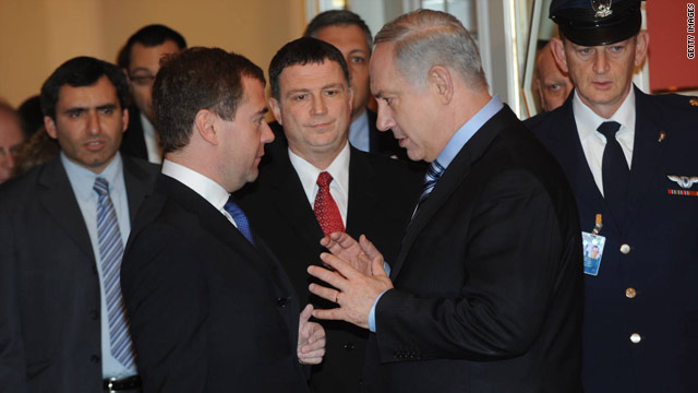 In this handout photo provided by the Israeli government, Israeli Prime Minister Benjamin Netanyahu meets with Russian President Dmitry Medvedev on Monday.