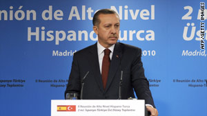 Recep Tayyip Erdogan addresses the media during an official visit to Spain.