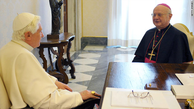 Pope Benedict XVI meets Robert Zollitsch, president of a conference of German bishops, in his office to discuss abuse allegations.