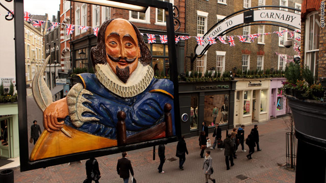 William Shakespeare as depicted on the sign outside Shakespeare's Head pub in London's iconic Carnaby Street.