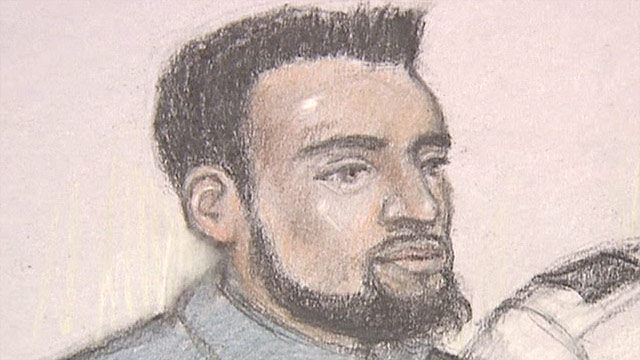 An artist's sketch shows Rajib Karim during his first court appearance on Thursday, March 11.