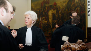 Belgian lawyer Marie-Fernande Motte de Raedt at the first day of the trial in Brussels.