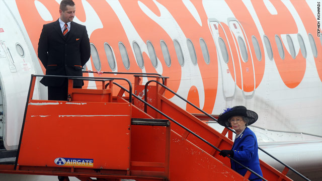 Royal ascent: Queen Elizabeth II boards a budget airline on her way to Aberdeen, in a bid to save taxpayers money