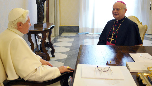 Archbishop Robert Zollitsch meets Pope Benedict XVI at the Vatican last month to discuss the abuse scandal.
