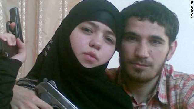 Photograph purportedly of Abdullayeva and her late husband, identified as 30-year-old Umalat Magomedov.