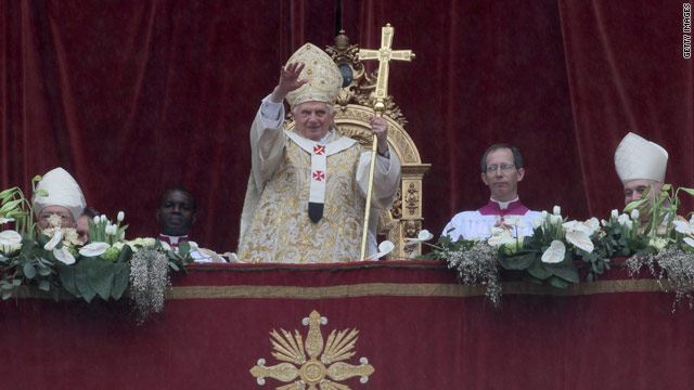 Pope Benedict XVI delivers his Easter message and blessing at St. Peter's on Sunday.
