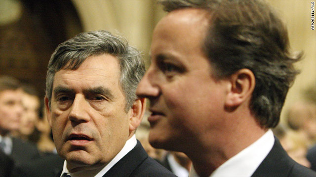 UK PM Gordon Brown (left) and Conservative leader David Cameron at the state opening of parliament, London, November 2009.