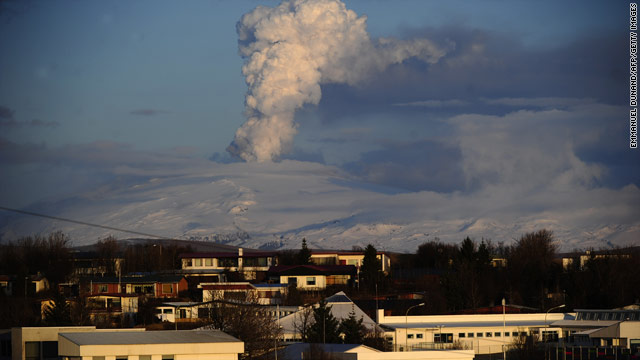 A volcanic ash cloud towers over Hella, Iceland on Thursday. Some Icelandic airports will close for the first time due to the ash.