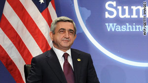 Armenian President Serge Sarkisian, pictured during a recent trip to Washington.