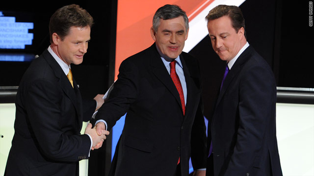 The leaders of the UK's three main parties, Nick Clegg (left to right), Gordon Brown and David Cameron.