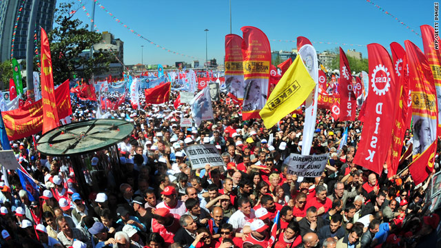 Turkish protesters gather in Taksim Square during a May Day rally in central Istanbul on May 1.