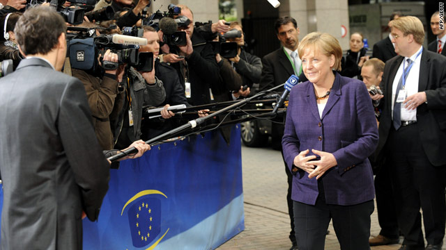 German Chancellor Angela Merkel arrives Friday at a meeting of European leaders to finalize an aid package for Greece.