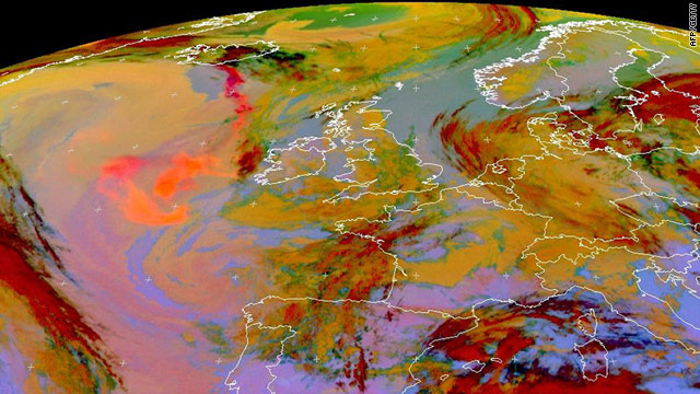 A computer-enhanced satellite image Friday shows the ash cloud as an orange-red plume drifting from southern Iceland.
