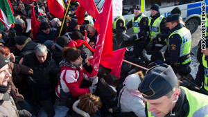 Protesters clashed with Swedish police outside the Iranian embassy in Stockholm earlier this year.