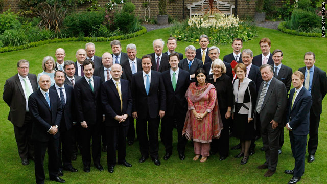 Britain's new Cabinet features members of the once-rival Conservative and Liberal Democrat parties.