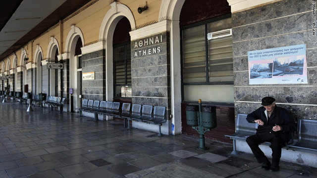 An elderly man sits on an empty train platform in Athens during a 24-hour general strike on May 20, 2010.