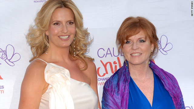 Sarah Ferguson (right) with model Penny Lancaster at a London charity event May 20.