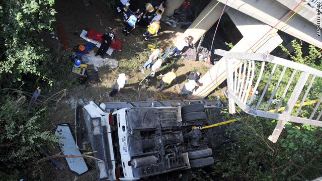 Rescuers work near the wreckage of a bus that plunged off a bridge in Turkey's Antalya province.