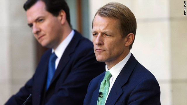 David Laws (right) and Finance Minister George Osbourne announce major budget cuts to the UK press.