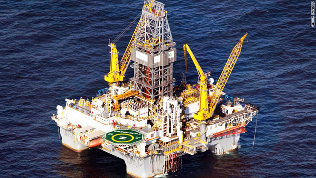 "A drilling platform near the site of the Deepwater Horizon rig which sank in April creating an ""environmental catastrophe."""