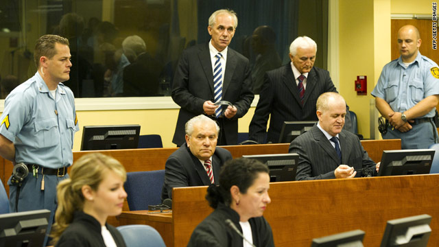 Four of the defendents -- Milan Gvero, Vinko Pandurevic, Ljubomir Borovcanin and Radivoje Miletic -- at the war crimes tribunal.
