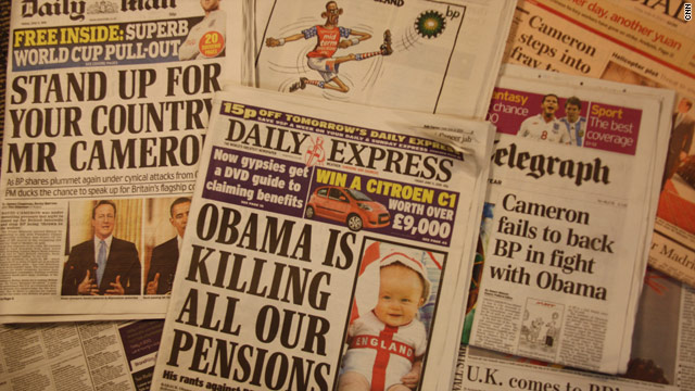 UK newspapers have criticized president Barack Obama for his comments about BP following the Gulf Coast oil disaster.