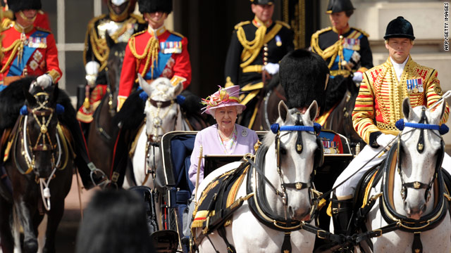 Britain's Queen Elizabeth II leaves Buckingham Palace during the 'Trooping the Color' parade in London.