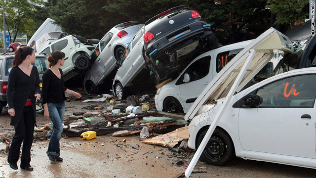 Flash floods flipped cars in a western district of the French south eastern city of Draguignan on June 16, 2010