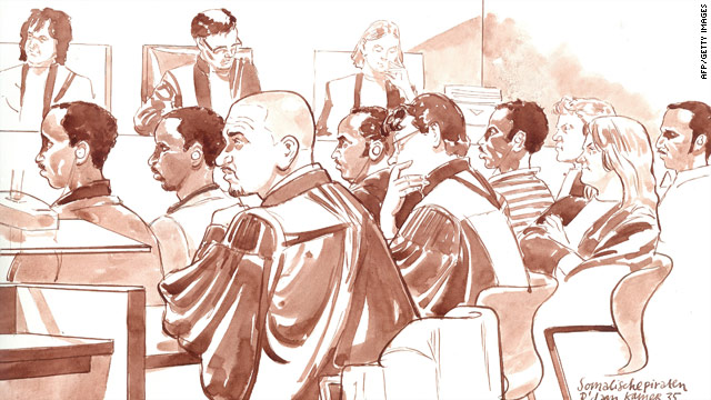 A court drawing showing the pirates and their defense lawyers in a Rotterdam courtroom on May 25, 2010.