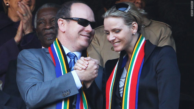 Prince Albert II of Monaco and Charlene Wittsock at the World Cup match between South Africa and Mexico on June 11, 2010.